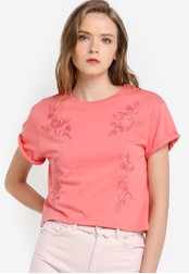 TOPSHOP pink Embroidered Tee TO412AA25GESMY_1