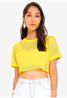 f4ada27aeff1db Glamorous yellow Crop Mesh T-Shirt 63032AA27C12F1GS 1