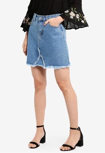 ZALORA blue A Line Skirt With Frayed Hem A1A0DAA10C0C43GS_1