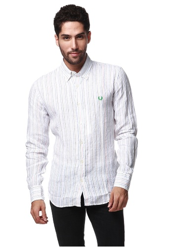 Fred Perry Green Label white White Long Sleeve Shirt with Multi Striped FR595AA29VVIMY_1