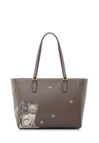 BONIA brown Walnut Isadora Tote DFA74AC268FAA1GS_1