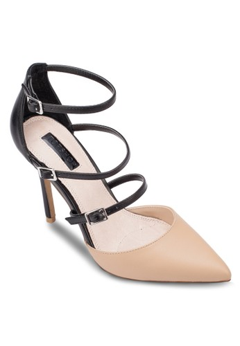 Giselle 扣環多帶尖頭topshop hk高跟鞋, 女鞋, 厚底高跟鞋
