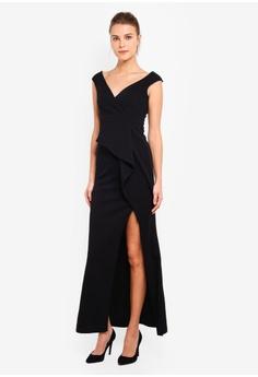 154ea49b1e2e Goddiva black Folded Peplum Maxi Dress 887D4AA2776E47GS_1