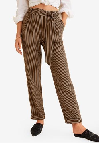 MANGO brown Striped Bow Trousers 0EFA8AA42ED75FGS_1