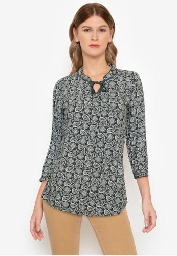 "No Apologies green Woven Printed Rayon 3/4""blouse B805CAAD56837BGS_1"