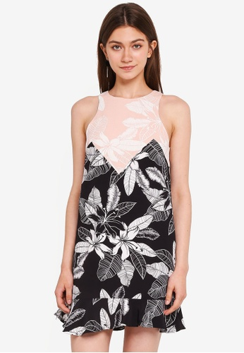 MDSCollections multi Blossom Shift Dress In Black Floral 20AC0AAC0A1EBEGS_1
