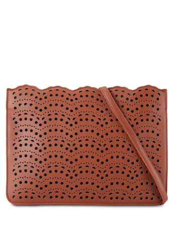 Velvet brown Scallop Perforated Clutch 43253ACC8A5CEFGS_1