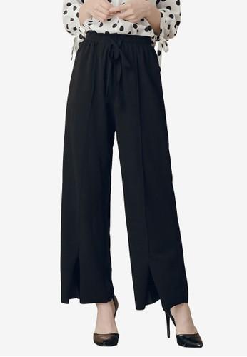 Kodz black Tie Front Wide Pants 5CC65AA3A3C716GS_1