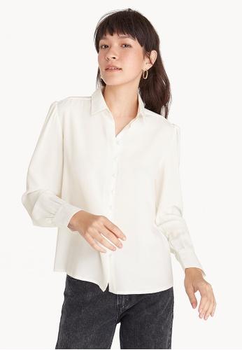 83742b9de Pomelo white Loose Button Down Puffed Sleeve Shirt - White  4AF67AA2EBB3D6GS_1