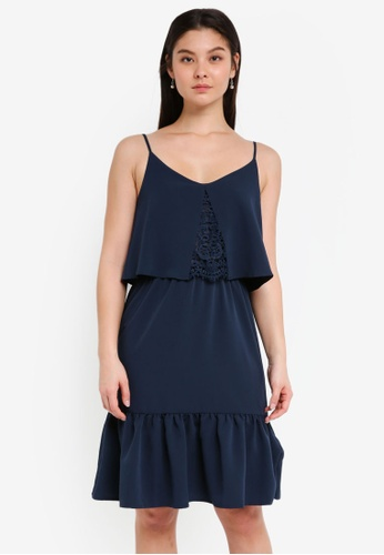 ICHI blue and navy Lilie Dress D3926AAD066899GS_1