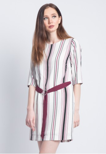Valino Red VALINO LADIES 3 4 SLEEVES STRIPED MIDI DRESS WITH BELT D6024AAC2C3914GS 1