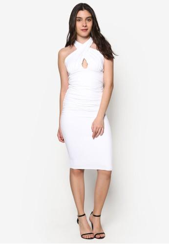 zalora 包包 ptt交叉鏤空繞脖領貼身連身裙, 服飾, 服飾