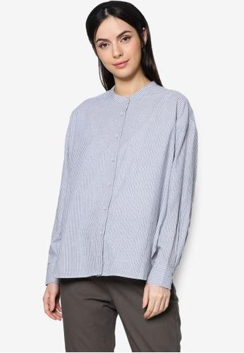 ZALIA BASICS grey Mandarin Collar Striped Shirt 2E1F7AA8902FEEGS_1