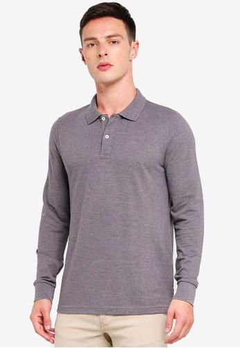 OVS grey Melange Cotton Blend Polo Shirt C5330AA877EBE4GS_1