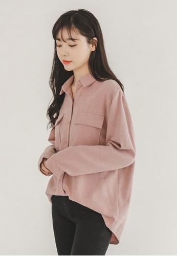 zalora 衣服尺寸兩口袋加絨襯衫, 服飾, 襯衫