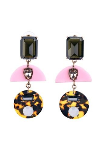 My Fame Diva pink Flashy Pink x Leopard Print Geometric Earrings MY698AC15RFWMY_1