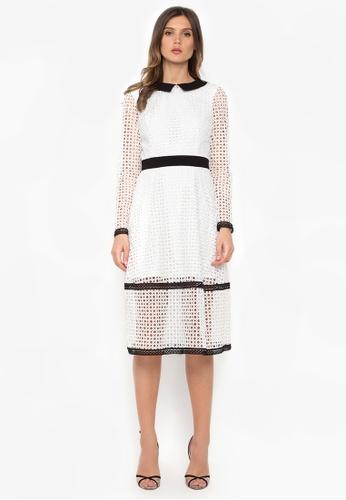 NOBASIC white White Contrast Crochet Midi Dress 5F5A3AA3BBF6F7GS_1