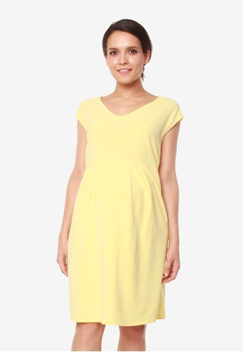Bove by Spring Maternity yellow Erica Pleated V Neck Dress 19FF1AAFA9A66EGS_1