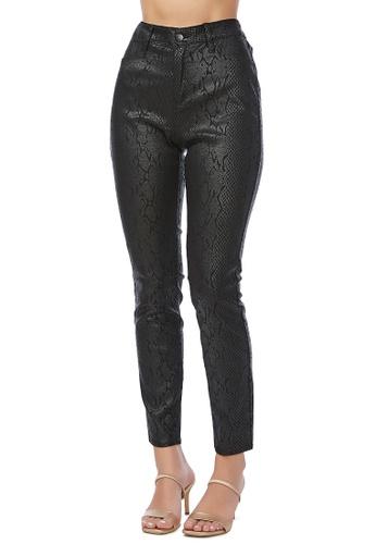 London Rag 黑色 黑色蛇纹紧身裤 1F121AA96E8A60GS_1
