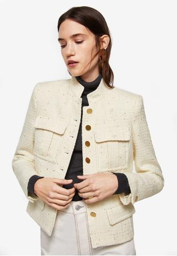 Mango beige Buttoned Texture Jacket 58C96AAE6D79EDGS_1