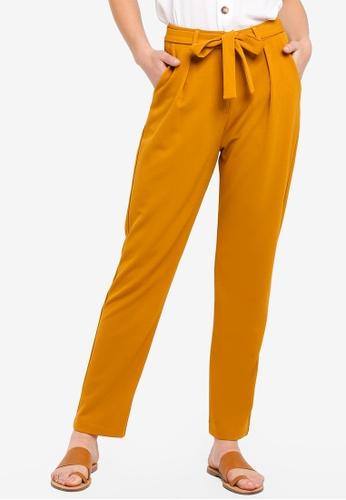 ZALORA BASICS yellow Basic Belted Cigarette Pants 10514AABC8947DGS_1