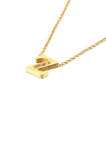 Glamorousky 白色 時尚個性鍍金色英文字母Z 316L鋼吊墜配鋯石及項鏈 09B93AC816E124GS_1