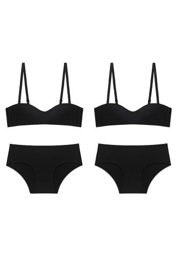 K.Excellence black Premium Comforn Black&black Lingerie Set (Bra and Underwear) 42128US00B3B23GS_1