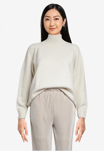 LOWRYS FARM white Relaxed Raglan Sleeves Knit Sweater D3E7FAAFBEB8FBGS_1