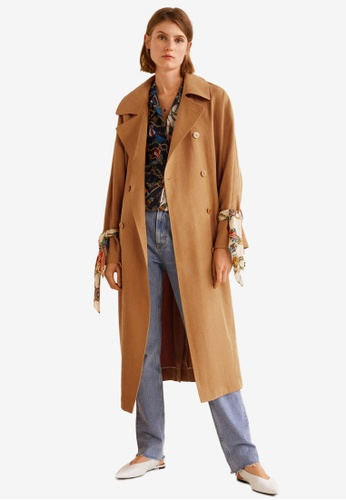 Mango brown Double Breasted Trench Coat 39F34AA0EDD70CGS_1