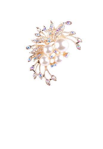 Glamorousky white Fashion and Elegant Plated Gold Floral Imitation Pearl Brooch with Cubic Zirconia 770EBAC8B8CBEBGS_1