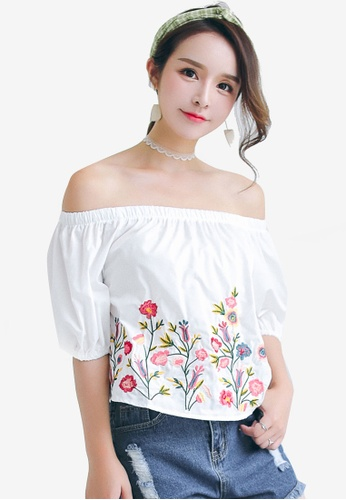 Shopsfashion white Embroidery Off Shoulder Blouse 4D521AA645BAABGS_1