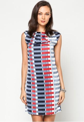 撞色條紋無袖連身裙, 服飾,esprit 京站 派對洋裝