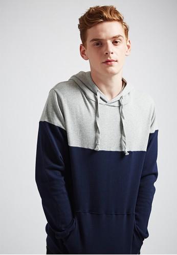 esprit 見工舒適休閒。撞色剪接。純棉大學連帽T-MIT-03694-灰色, 服飾, 長袖T恤