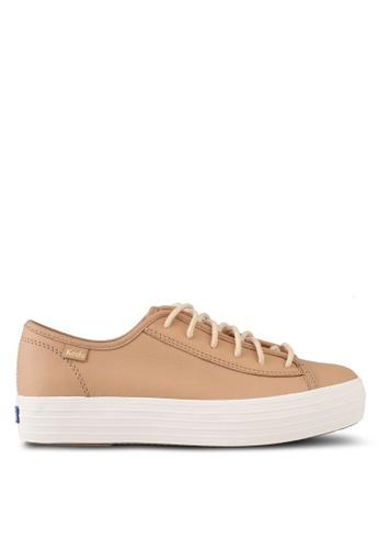 Keds brown Triple Kickstart Leather Sneakers KE942SH0STENMY_1