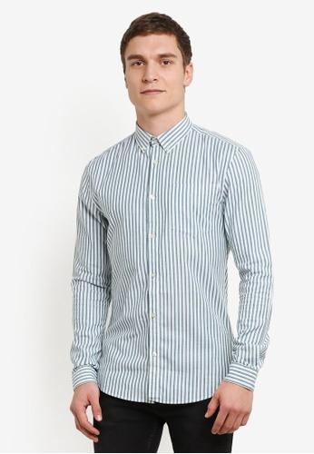 River Island green Stripe Muscle Fit Long Sleeve Shirt RI009AA0SF7EMY_1