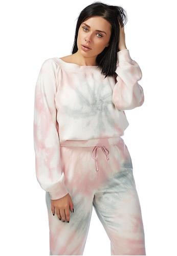 London Rag pink Mauve Tie Dye Sweat Top 6B0FEAAB556982GS_1