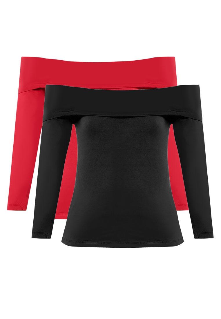 Essential 2 ZALORA Off Black BASICS Sleeve Long Burgundy Pack Top Shoulder wfwPqAg