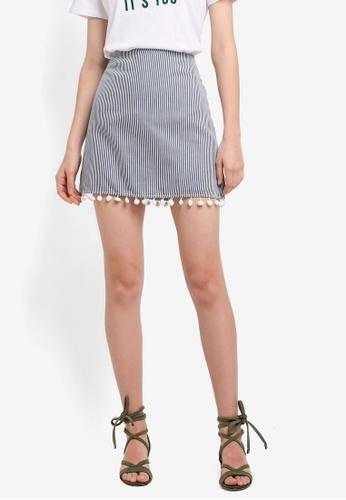Mango blue Striped Skirt A432BAA47927A1GS_1