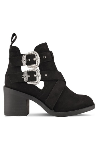 TOPSHOP black Blinder Buckle Heeled Boots TO412SH0S7UWMY_1