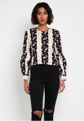 TOPSHOP multi Block Floral Stripe Top TO412AA0RY36MY_1