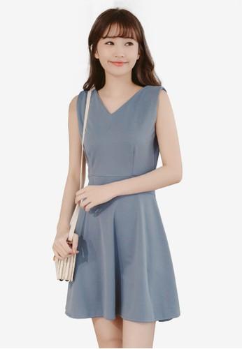 Eyescream blue and grey Back Button Flare Dress 6D629AA67AABB7GS_1