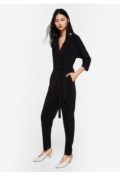 Mango black Wrap Neckline Jumpsuit 7999EAAB41A3E1GS_1