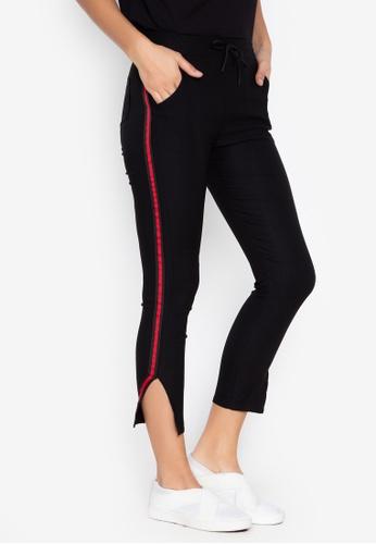 Balaynor black Skinny Track Pants with Slit 222D0AA517C4BFGS_1