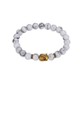 Glamorousky silver Fashion Elegant Golden Buddha Beaded Bracelet 54813AC0BFC652GS_1