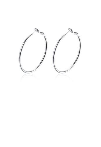 Glamorousky silver Simple Geometric Round Earrings 5B86EACEACC263GS_1