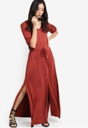 Something Borrowed red V-Neck Drawstring Maxi Dress 9B96FAAAAC0B27GS_1