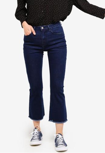 ZALORA BASICS blue Basic Cropped Bootcut Jeans F3842AA85047EEGS_1
