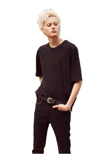 1esprit 兼職7SS蛇紋印花黑色T恤, 服飾, 上衣