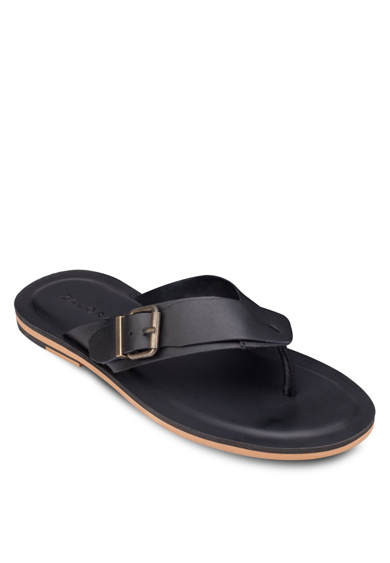 Leather Thong Sandalswith Buckle Detail