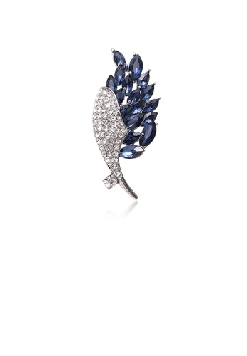 Glamorousky white Elegant Bright Floral Brooch with Blue Cubic Zirconia 8112BAC5707B0DGS_1